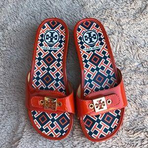 Tory Burch Dixon patent calf clogs sandals